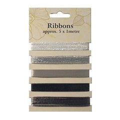 Poppy Crafts Ribbons - Silvers - 5 Ribbons