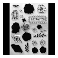 Poppy Crafts Stamps - Just For You Flowers and Script