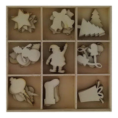 Poppy Crafts - Wooden elements shapes 45 pieces - Christmas Silhouettes