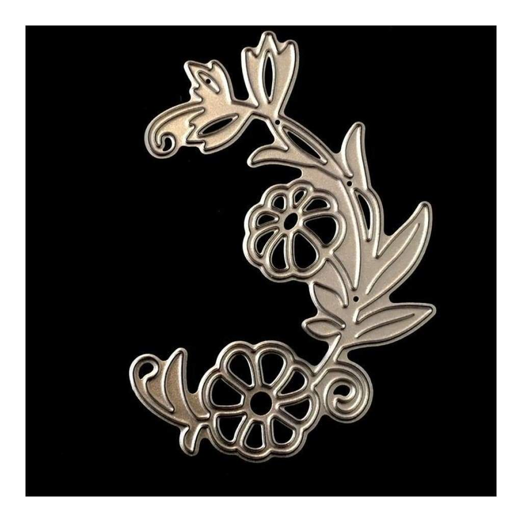 PoppyCrafts Cutting Die - Ornate Flourish with 2 Flowers Die Design