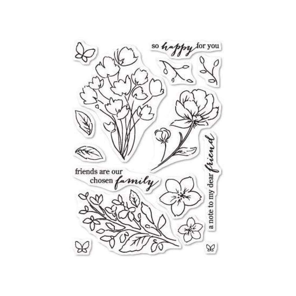 Poppystamps - Friends and Flowers clear stamp set