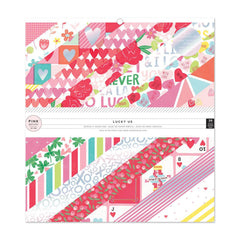 Pink Paislee Single -Sided Paper Pad 12in X 12in, 12 Designs - Lucky Us