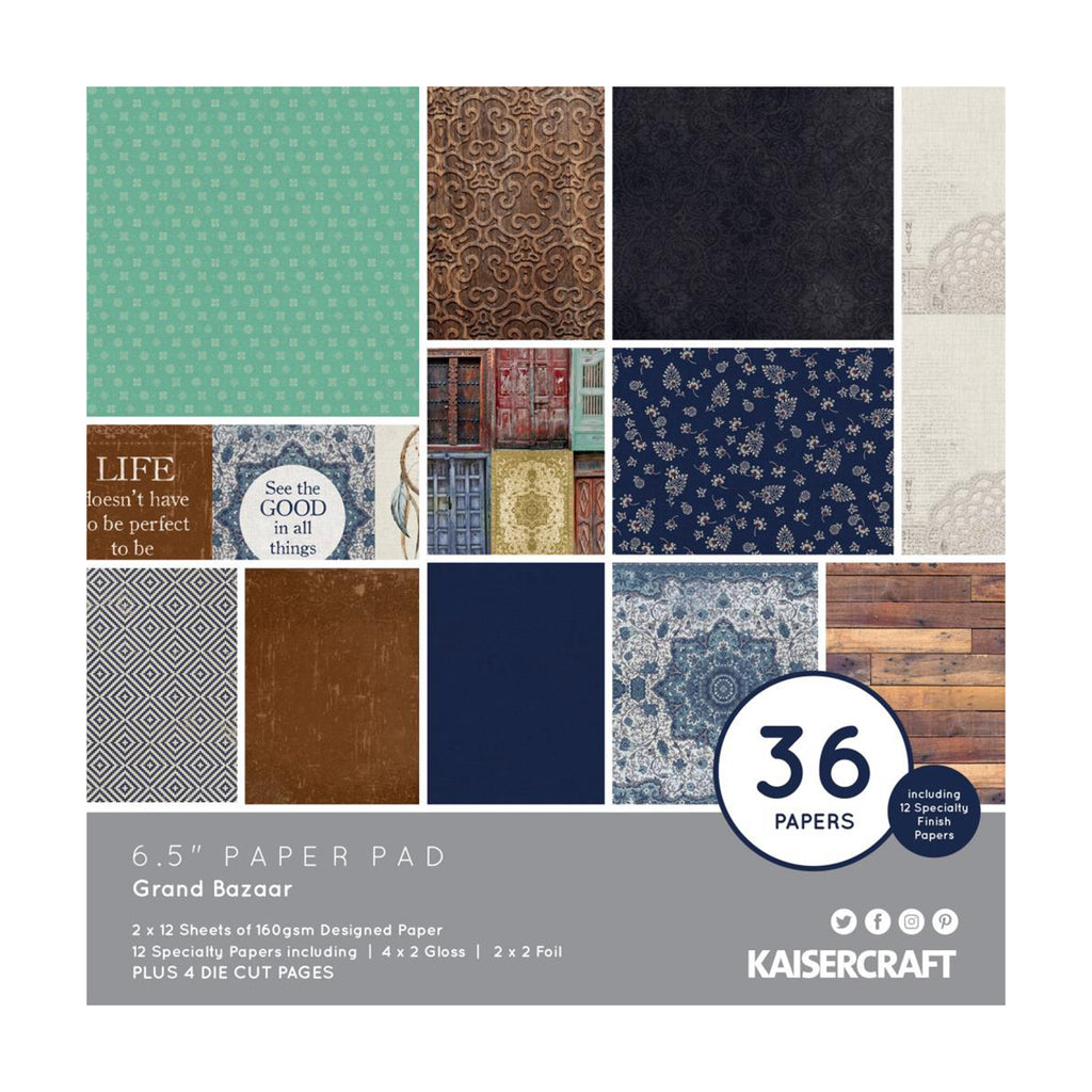 Kaisercraft - Grand Bazaar Collection Paper Pad 6.5in x 6.5in 36 per pack