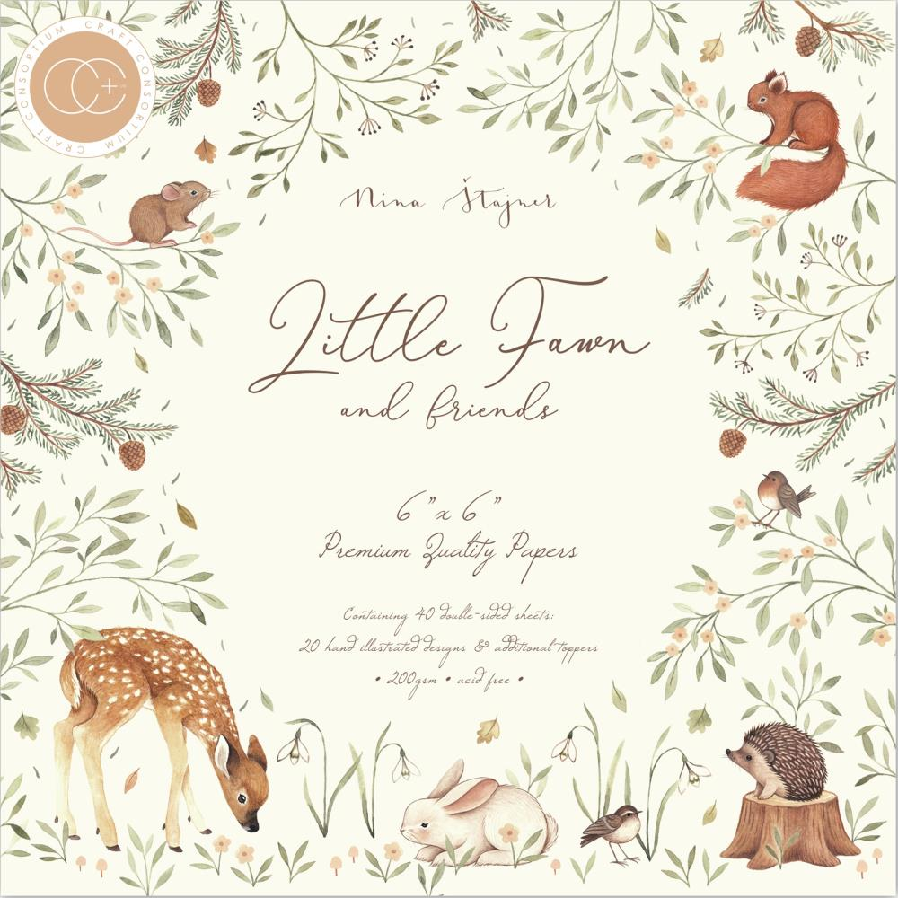 Craft Consortium Double-Sided Paper Pad 6in x 6in 40 pack - Little Fawn & Friends