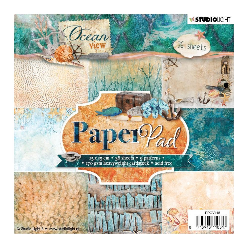 Studio Light Paper Pad 6 inch X6 inch 36 pack Ocean View, 9 Designs/4 Each - No.117