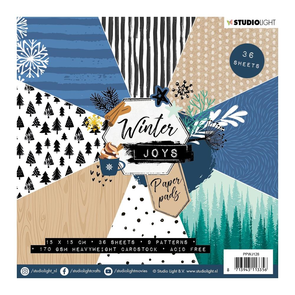 Studio Light Paper Pad 6 inch X6 inch 36 pack - Winter Joys, 9 Designs/4 Each