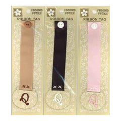 Pressed Petals - Letter Q Ribbon Tag   - One Of Each Colour Ribbon (3 Per Pack)