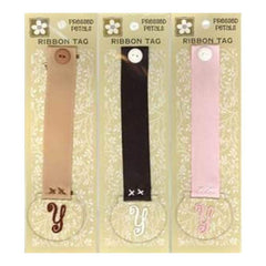 Pressed Petals - Letter Y Ribbon Tag   - One Of Each Colour Ribbon (3 Per Pack)