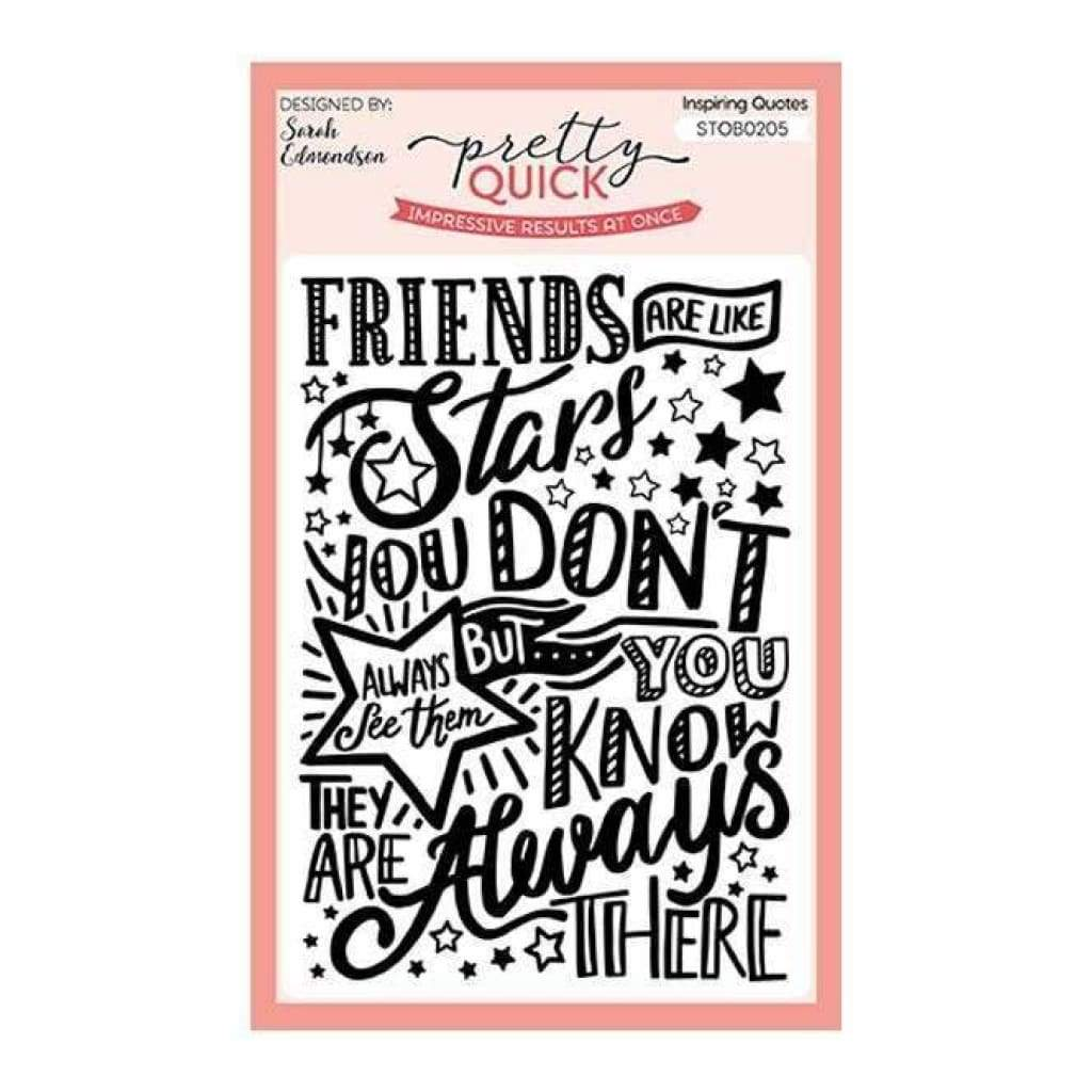 Pretty Quick Inspiring Quotes Friends are Like Stars A6 Stamp