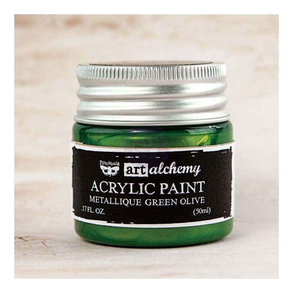 Prima - Finnabair Art Alchemy - Metallique Acrylic Paint - Green Olive