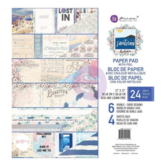 Prima Marketing Double-Sided Paper Pad 12 inch X12 inch 24 pack Santorini, 6 Foiled Designs/4 Each