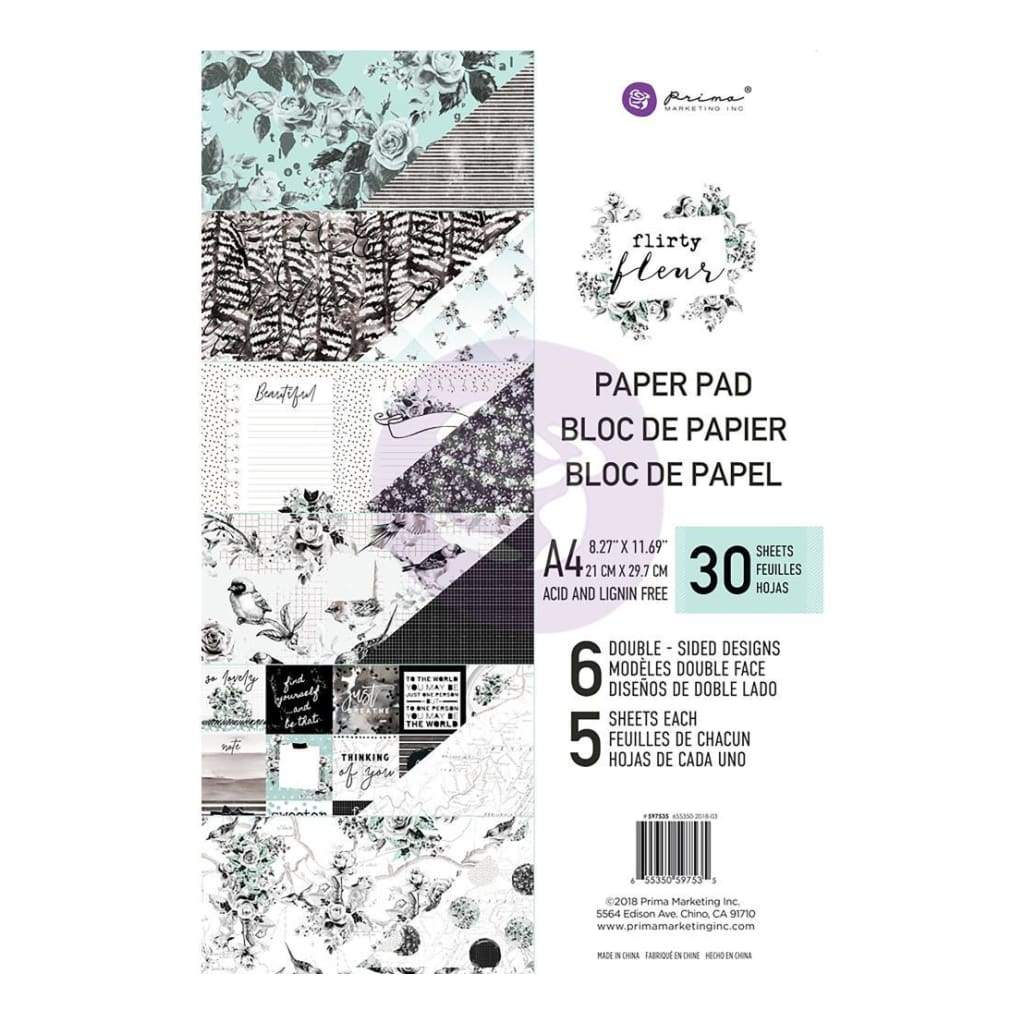 Prima Marketing Double-Sided Paper Pad A4 30 pack Flirty Fleur, 6 Designs/5 Each