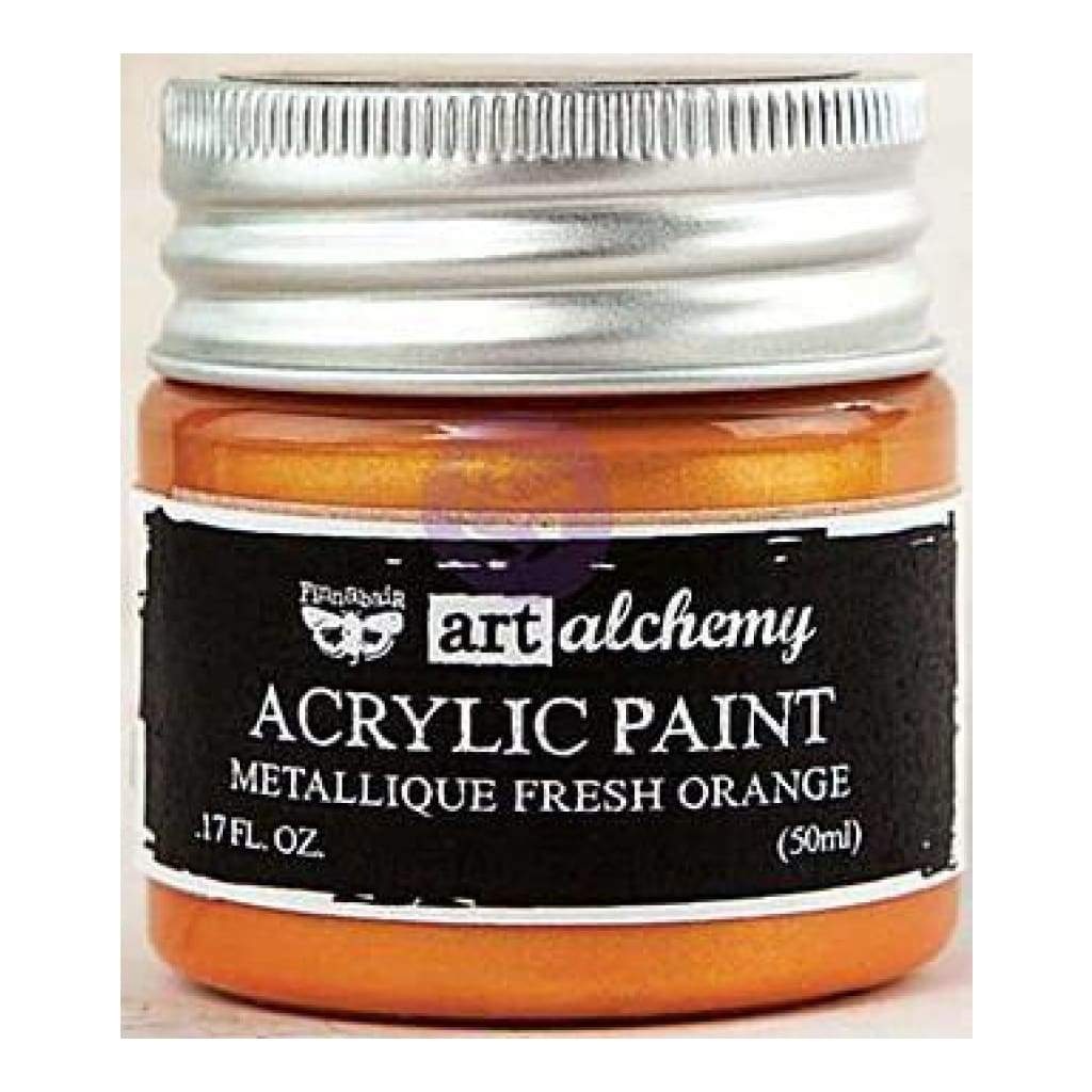 Prima Marketing Finnabair Art Alchemy Acrylic Paint 1.7 Fluid Ounces - Metallique Fresh Orange