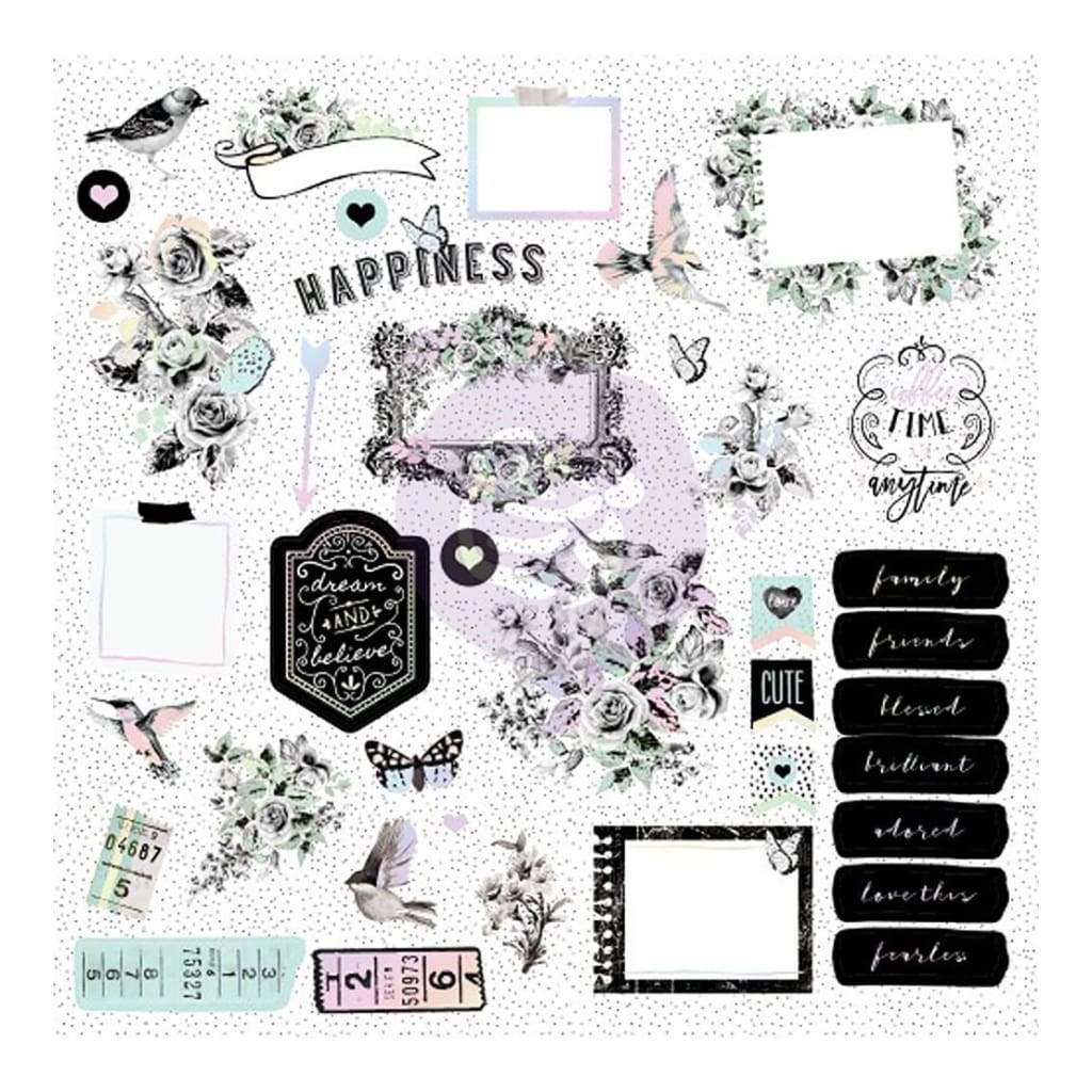 Prima Marketing Flirty Fleur Ephemera Cardstock Die-Cuts 38 pack  Shapes, Tags, Words, Foiled Accents