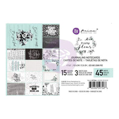 Prima Marketing Flirty Fleur Journaling Cards Pad 4 inch X6 inch  45 pack  15 Designs/3 Each