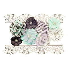 Prima Marketing Flirty Fleur Mulberry Paper Flowers 8 pack  Simple Things  with Laser-Cut Chipboard
