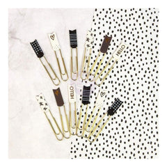 Prima Marketing - My Prima Planner Banner Paper Clips 12 pack Brown, Black & White with Glitter & Foil
