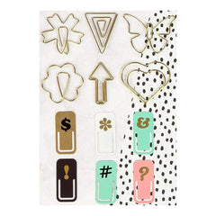 Prima Marketing - My Prima Planner Variety Clips 12 pack 6 Shaped Gold Wire & 6 Painted