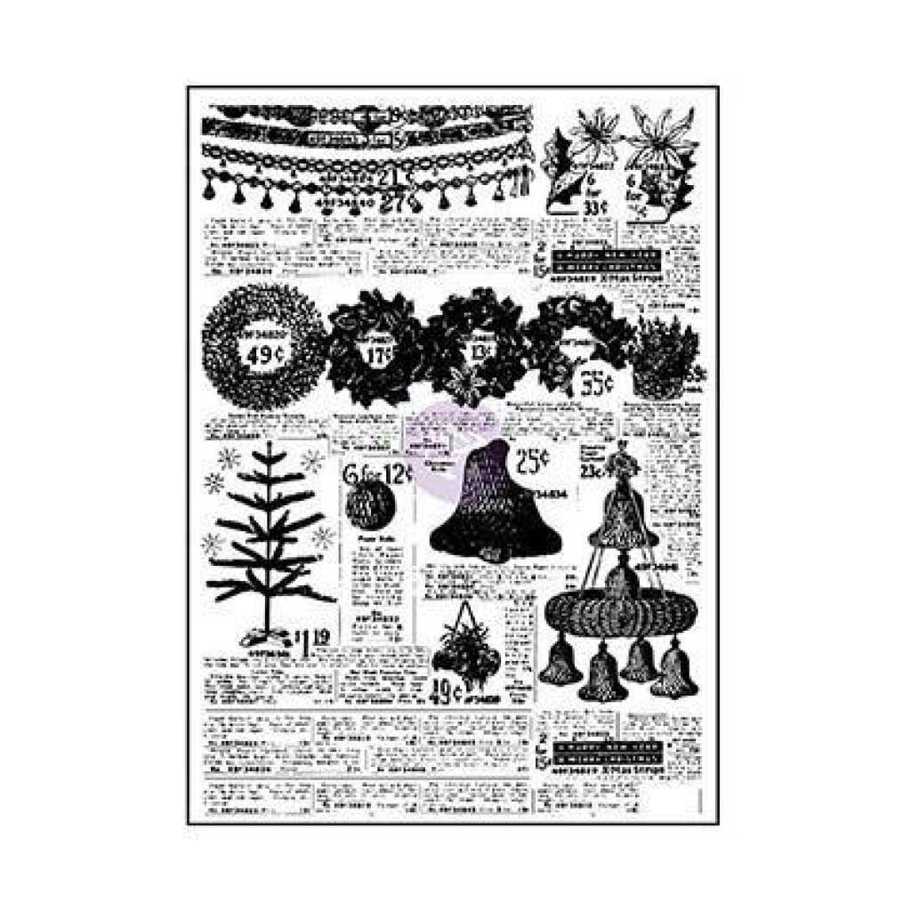 Prima Marketing Sweet Peppermint Clear Stamps 3 Inch X4 Inch Newspaper