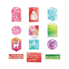 Prima Marketing Sweet Peppermint Watercolor Resist Tags 12/Pkg