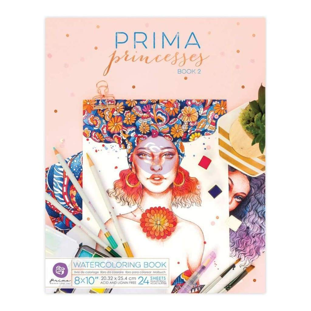 Prima Marketing Watercolor Coloring Book 8 inch X10 inch Princesses Vol. 2, 24 Sheets