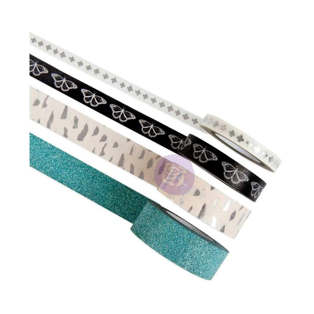 Prima Marketing Zella Teal Decorative Tape 4 pack Printed & Glitter