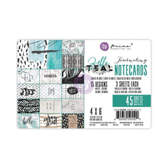 Prima Marketing Zella Teal Journaling Notecards 4 inch X6 inch 45 pack 15 Double-Sided Designs/3 Each