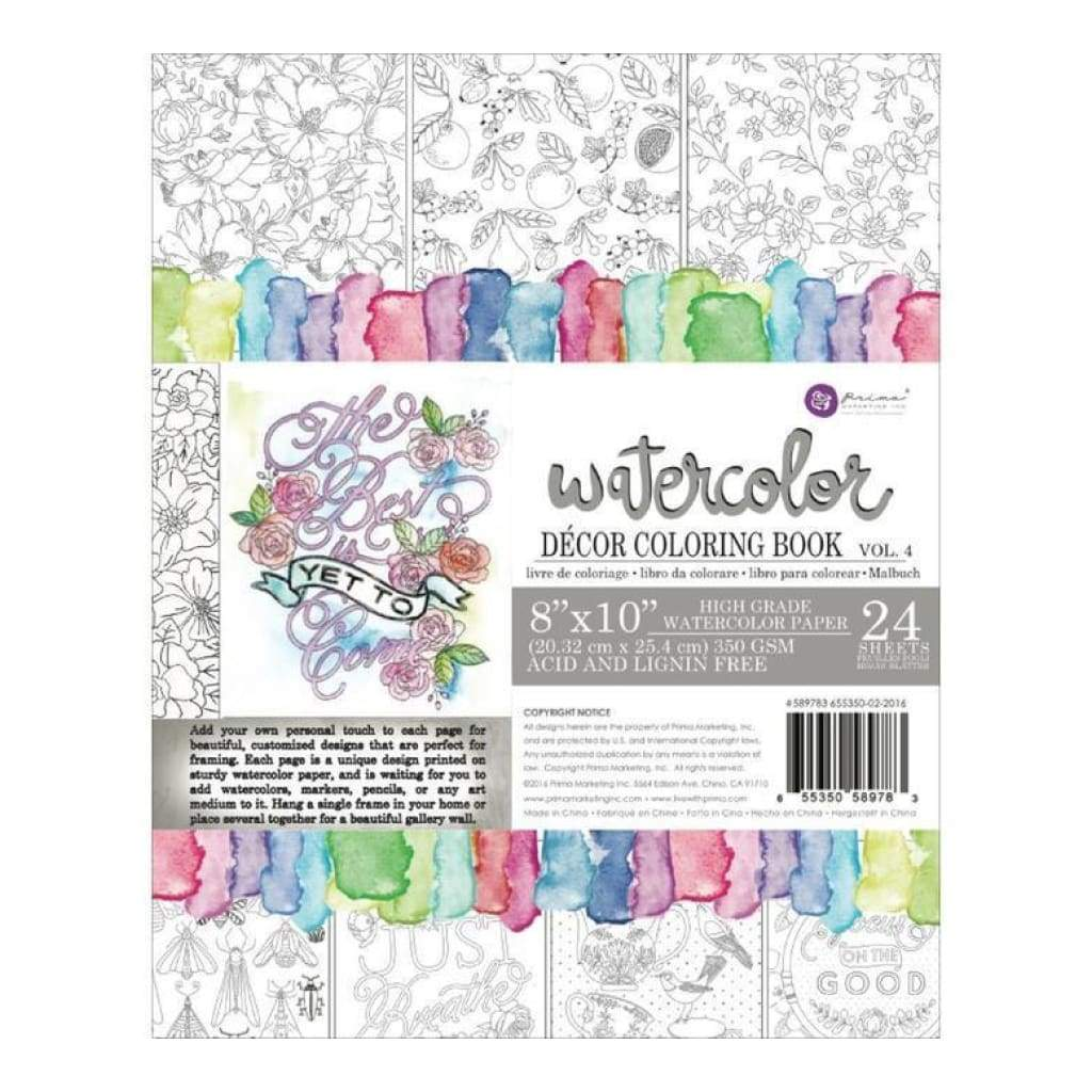 Prima Watercolour Colouring Book - Decor Vol 4 (24 Sheets)