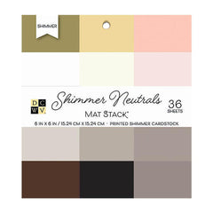 DCWV Single-Sided Cardstock Stack 6X 6 36 per pack Shimmer Neutrals Solid, 12 Colours per each