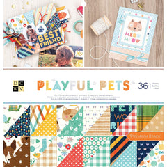DCWV - Double-Sided Cardstock Stack 12 inch X12 inch 36 pack - Playful Pets, 12 Designs/3 Each
