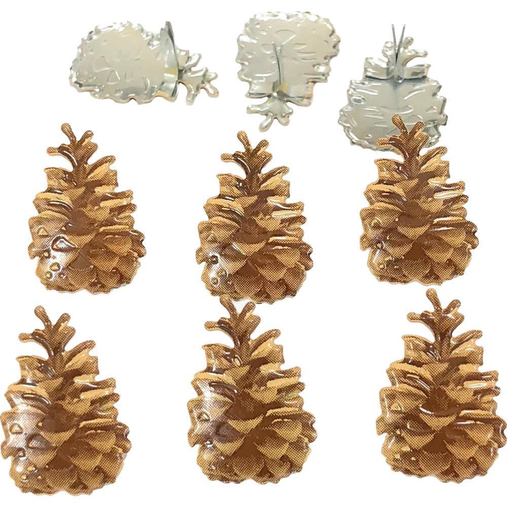 Eyelet Outlet Shape Brads 12 pack - Pinecone