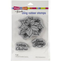 Stampendous - Cling Stamp - Poinsettia Greetings - 4.5x5.5 inch