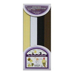 Quilling Paper Corrugated 18.5X10mm 32/Pkg Brown  Ivory & White