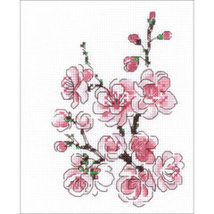 RIOLIS Counted Cross Stitch Kit 5 inchX6 inch - The Branch Of Sakura (14 Count)