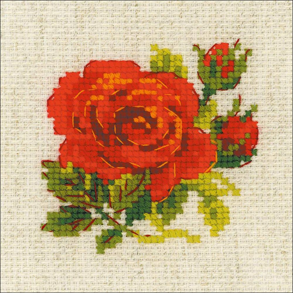 RIOLIS Counted Cross Stitch Kit 5in x 5in Red Rose (10 Count)
