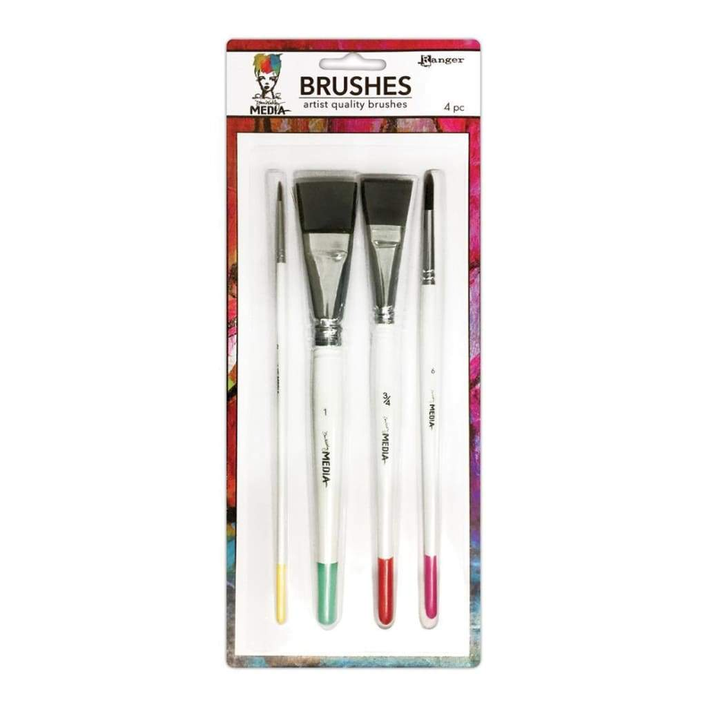 Dina Wakley Media Brushes 4 pack Round 3, Fine Point 6, Flat .75 inch & 1 inch
