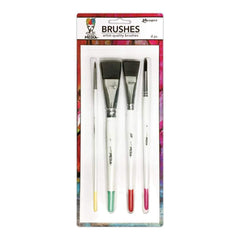 Ranger - Dina Wakley Media Brushes 4 pack Round 3, Fine Point 6, Flat .75 inch & 1 inch