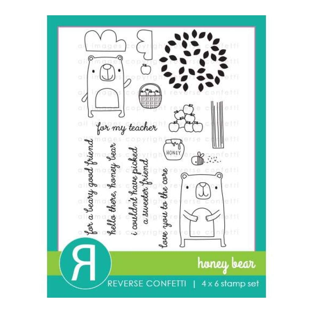 Reverse Confetti Stamps - Honey Bear
