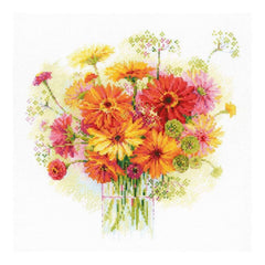 RIOLIS Counted Cross Stitch Kit 11.75inch X11.75inch Watercolour Gerberas (14 Count)