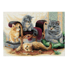 RIOLIS Counted Cross Stitch Kit 15.75inch X11.75inch Feline Family (14 Count)