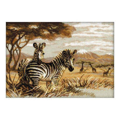 RIOLIS Counted Cross Stitch Kit 15.75inch X11.75inch Zebras In The Savannah (14 Count)