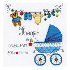 RIOLIS Counted Cross Stitch Kit 7.75inch X7.75inch Its A Boy! Announcement (28 Count)