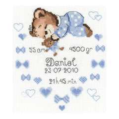 RIOLIS Counted Cross Stitch Kit 7inch X9.5inch Boys Birth Announcement (14 Count)