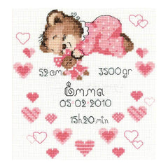RIOLIS Counted Cross Stitch Kit 7inch X9.5inch Girls Birth Announcement (14 Count)