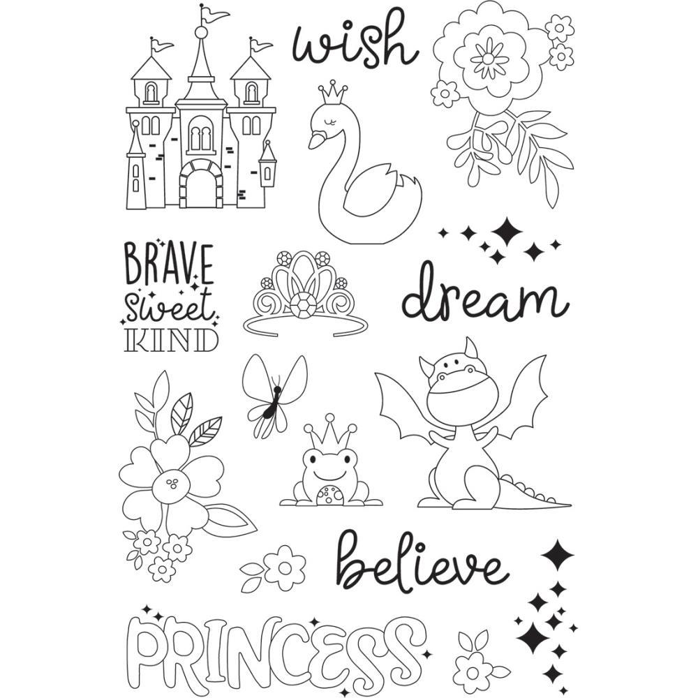 Simple Stories Little Princess Photopolymer Clear Stamps Make A Wish