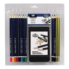 Royal Brush - Clamshell Art Sets Drawing Pencil  With Sketchbook 13Pc