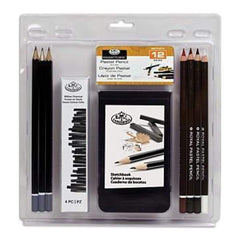 Royal Brush - Clamshell Art Sets Pastel Pencil With Sketchbook 12 Pieces