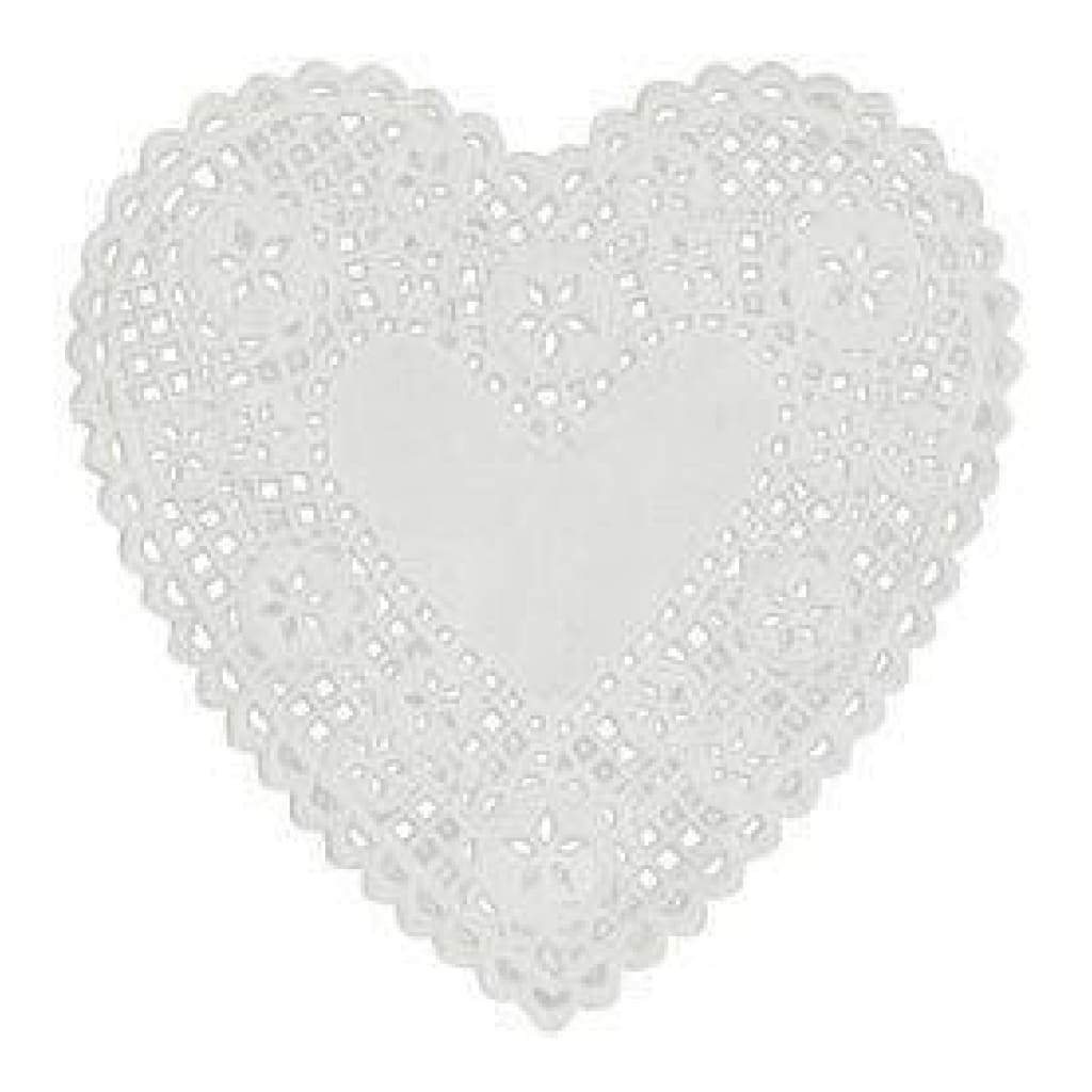 Royal Lace - White Heart Doilies 4 Inch (Pack 24)