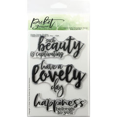 Picket Fence Studios 4 inch X 6 inch Stamp Set Happiness Belongs To You