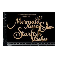Scrapaholics - Laser Cut Chipboard 1.8mm Thick - Mermaid Kisses, 6X3.3in.